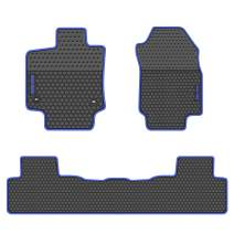 San Auto Car Floor Mats Custom Fit for Toyota RAV4 2019 Black Navy Blue Rubber Car Floor Liners Set for All Weather Protection Heavy Duty Odorless