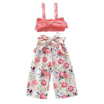 2PCs Toddler Kids Girls Summer Outfits Crop Tops + Lemon Floral Wide Leg Pants Set