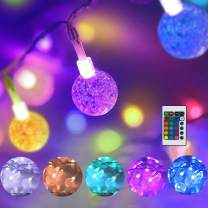 Color Changing Globe String Lights USB Plug, 16.4 ft 50 LEDs Crystal Bubble Ball Fairy Lights with Remote Control Timer Ambient Lighting for Girls Bedroom Home Xmas Halloween Party Decor (16 Colors)
