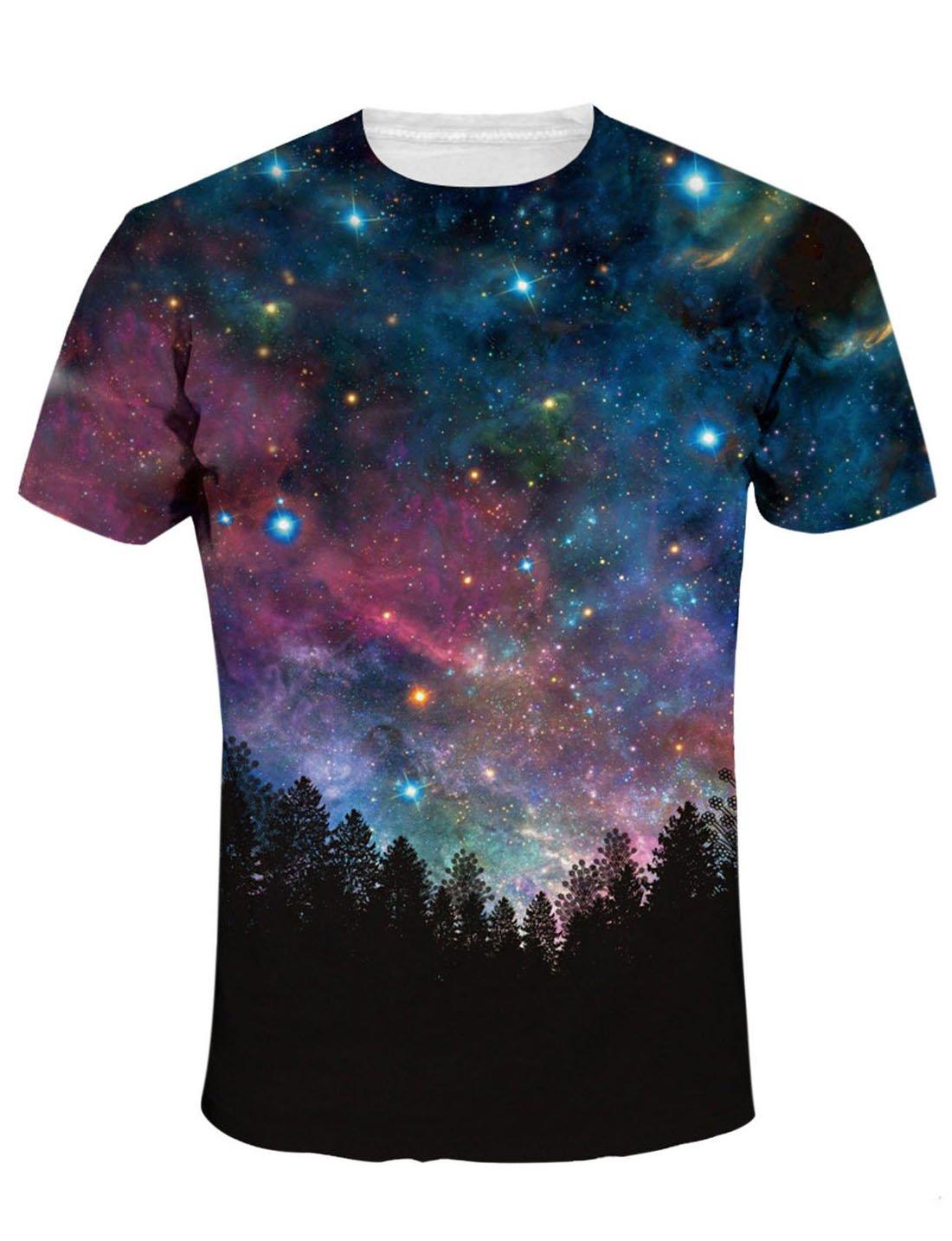 FEOYA Unisex T-Shirts Galaxy Graphic Tees Fashion Print T-Shirts Short Sleeve Shirts