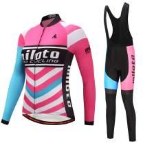 MILOTO Women's Cycling Fleece Jersey Black Bib Pants Set Long Sleeve Biking Suits