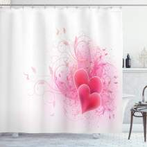 """Ambesonne Romantic Shower Curtain, Valentines Day Themed Hearts with Floral Arrangement Romantic Amour Illustration, Cloth Fabric Bathroom Decor Set with Hooks, 84"""" Long Extra, Pink White"""