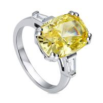 BERRICLE Rhodium Plated Sterling Silver Canary Yellow Cushion Cut Cubic Zirconia CZ Statement 3-Stone Cocktail Anniversary Fashion Right Hand Ring