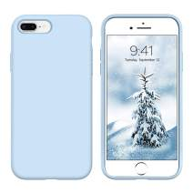 DUEDUE iPhone 8 Plus Case, iPhone 7 Plus Case, Liquid Silicone Soft Gel Rubber Slim Cover with Microfiber Cloth Lining Cushion Full Protective Shockproof Case for iPhone 8 Plus/7Plus, Blue