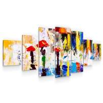STARTONIGHT Large Canvas Wall Art Abstract - Through The Rain with The Red Umbrella - Huge Framed Modern Set of 7 Panels 40 x 95 Inches