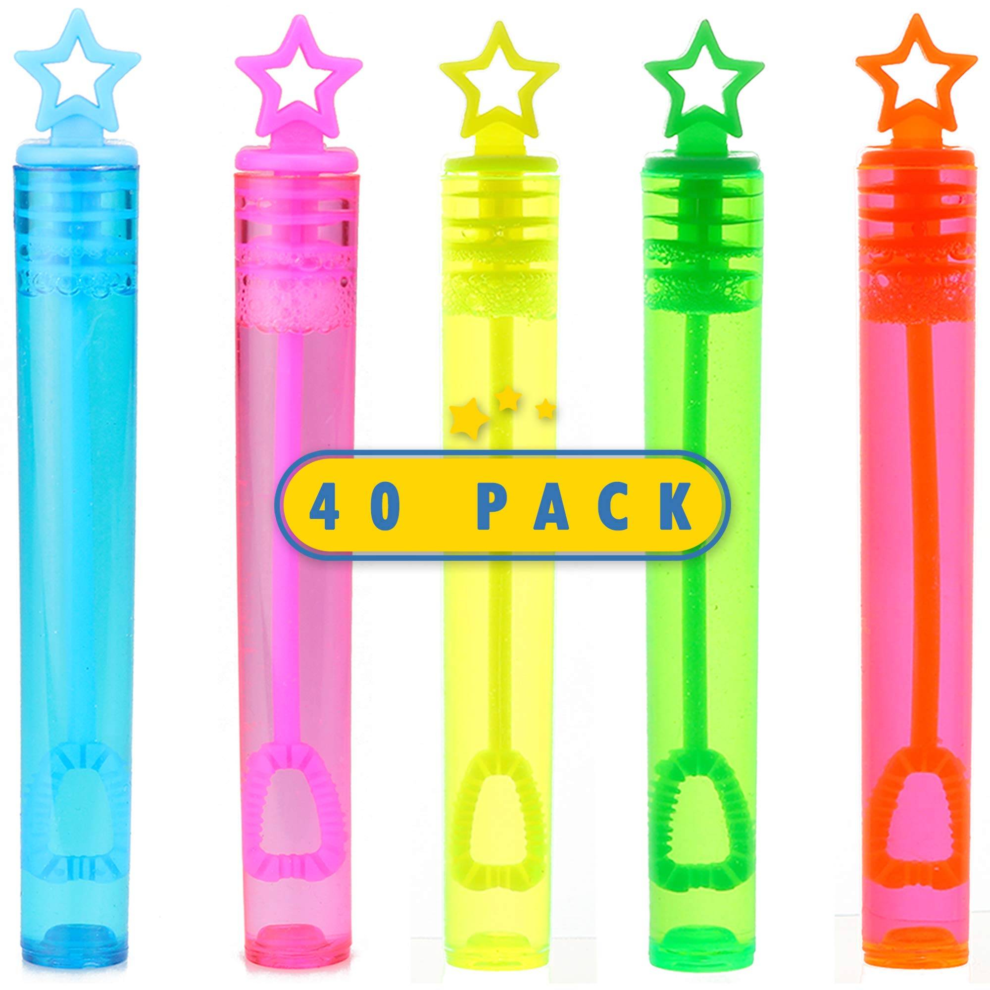 40-Piece Star Bubble Wands Assortment Neon Party Favors - Summer Gifts Bubbles Fun Toys
