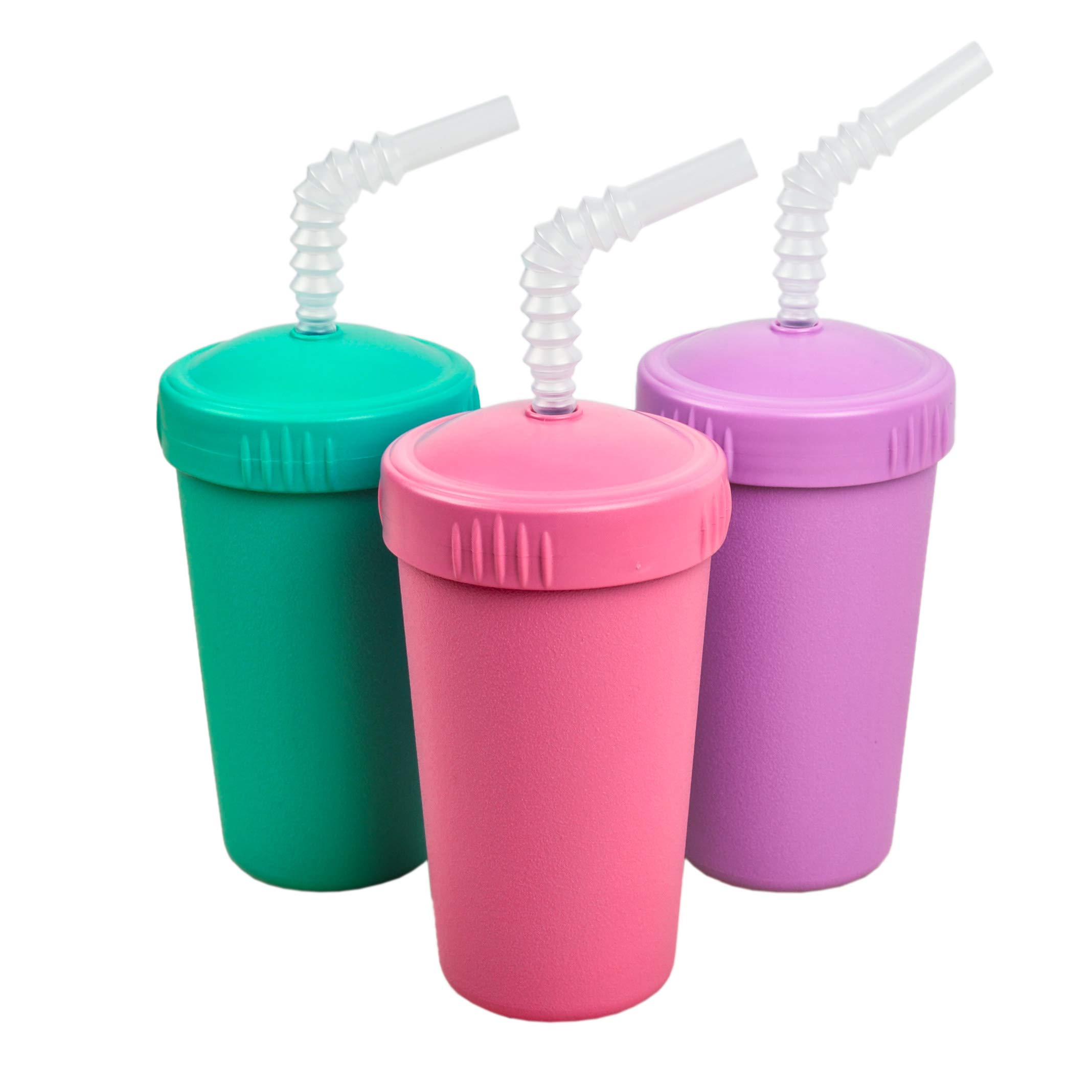 Re-Play Made in USA 3pk Straw Cups with Reversable Straw for Easy Baby, Toddler, Child Feeding - Aqua, Bright Pink, Purple (Sparkle)