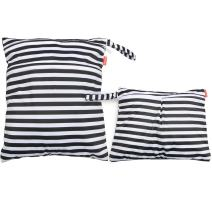 Damero 2pcs Travel Wet and Dry Bag with Handle for Cloth Diaper, Pumping Parts, Clothes, Swimsuit and More, Easy to Grab and Go, Black Strips