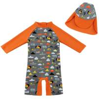 upandfast Baby/Toddler One Piece Zip Sunsuit with Sun Hat UPF 50+ Sun Protection Baby Swimsuit