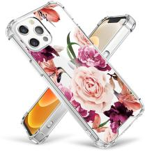 Cutebe Clear Case for iPhone 12 Pro Max, Shockproof Series Hard PC+ TPU Bumper Protective Cover for iPhone 12 Pro Max 6.7 Inch 2020 Released Floral Design for Women,Girls