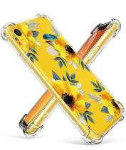 GVIEWIN Case for iPhone XR, Clear Flower Pattern Design Soft & Flexible TPU Ultra-Thin Shockproof Transparent Girls and Women Floral Cover, Cases for iPhone XR 2018 (Sunflowers/Yellow)