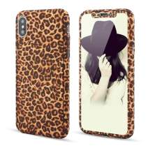 for iPhone X iPhone Xs Case,L-FADNUT 3in1 Stylish Leopard Cheetah Print Precise-Fit Premium PC Case and Tempered Glass Screen Protector Scratch Resistant Dual Layer Protective Case Brown