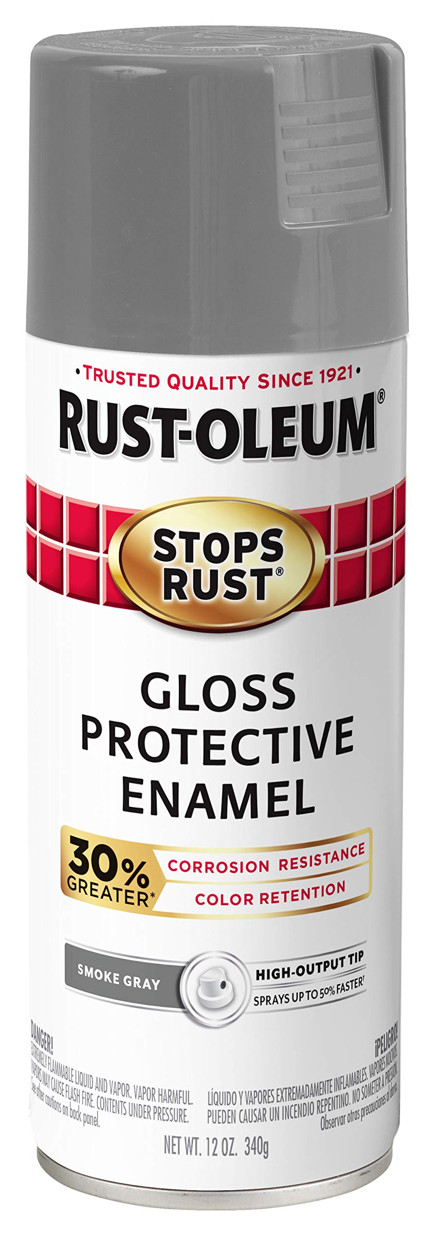 Rust-Oleum 338924-6PK Stops Rust Advanced Spray Paint, 12-Ounce, Gloss Smoke Gray, 6 Pack