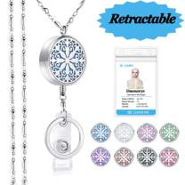 SAM & LORI Strong Lanyard Necklace Stainless Steel Beaded Chain Necklace Silver for ID Badge Holder and Key Chains Non Breakaway Charms Pendant for Women Nurse Teacher Student (Retractable- Mandala)