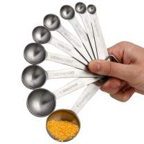 Measuring Spoons Stainless Steel Metal Teaspoon Measure Spoon set of 9 for Dry and Liquid Ingredients Fits in Spice Jar