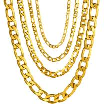 PROSTEEL 316L Stainless Steel Figaro Chain Necklace for Men/Women, Black/18K Real Gold Plated, 4mm to 13mm, 14inch to 30inch, Come Gift Box