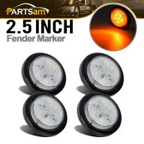 """Partsam 4x 2.5"""" Amber Round Marker Light Clear Lens 6 Diodes Trailer Light Signal Sealed, 2.5 Inch Round 6 LED Clearance Light Side Marker Light for Trucks and Trailers"""