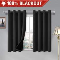 DWCN 100% Blackout Curtains – Thermal Insulated, Energy Saving & Noise Reducing Grommet Curtains for Living Room, Bedroom and Kids Room, Black, W 52 x L 45 Inch, Set of 2 Lined Curtain Panels