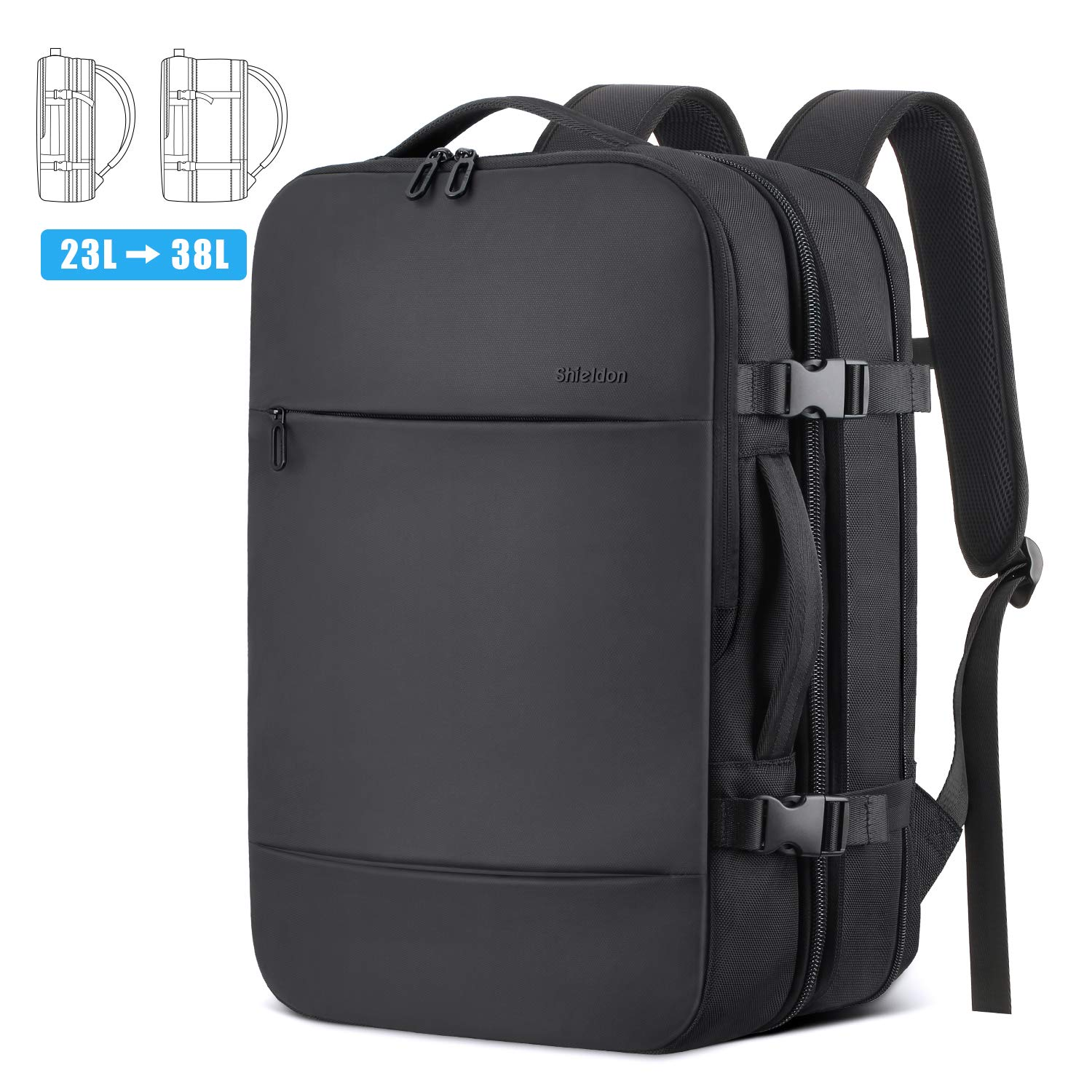 SHIELDON 17-inch Laptop Backpack, Adjustable 23L-38L Expandable Travel Backpack with Anti-Theft Pocket Water Repellent Durable Carry-on Multipurpose Bag, Business Weekender Luggage Backpack - Black