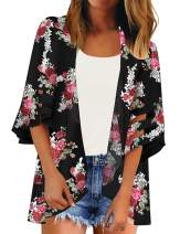 LookbookStore Women Open Front Loose Kimono Cardigan Mesh Bell Sleeve Beach Cover Up