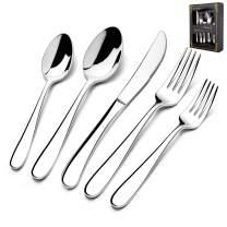 40-Piece Heavy Silverware Set, HaWare Premium Grade Stainless Steel Flatware Cutlery Set, Modern and Elegant Design for Home| Restaurant| Wedding, Mirror Polished and Dishwasher Safe(Raindrop)