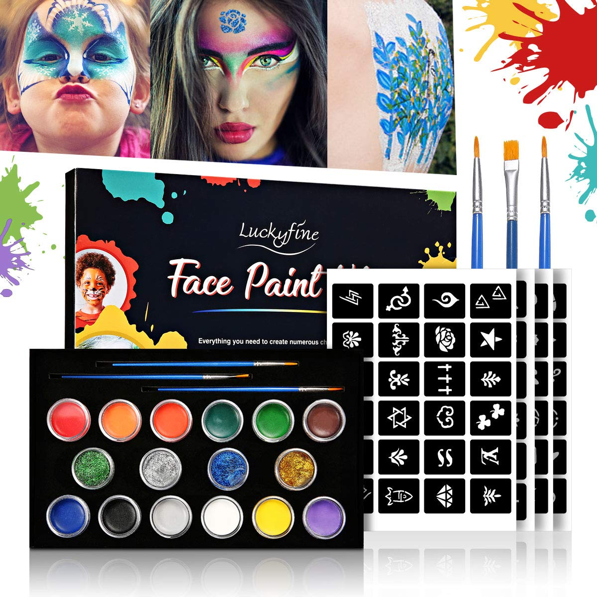 Face Paint Kit Halloween, Face and Body Paint Kits with 12 Colors Oil Paint, Face and Body Art with Stencils, Easy to Wash, Suit for Children and Adults, Parties