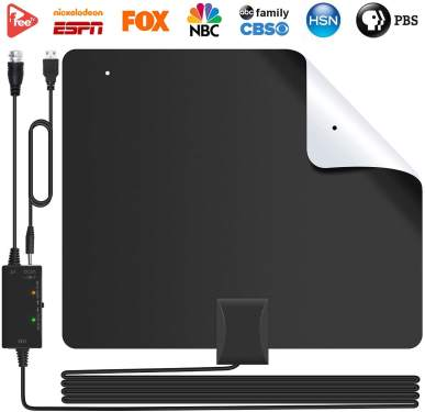 80+ Miles 13.2FT Coaxial Professional Version Cable Support 4K 1080P Life Local Channels All Older TVs for Indoor TV Digital HD Antenna with Signal Booster 2019 Amplified HD Digital TV Antenna