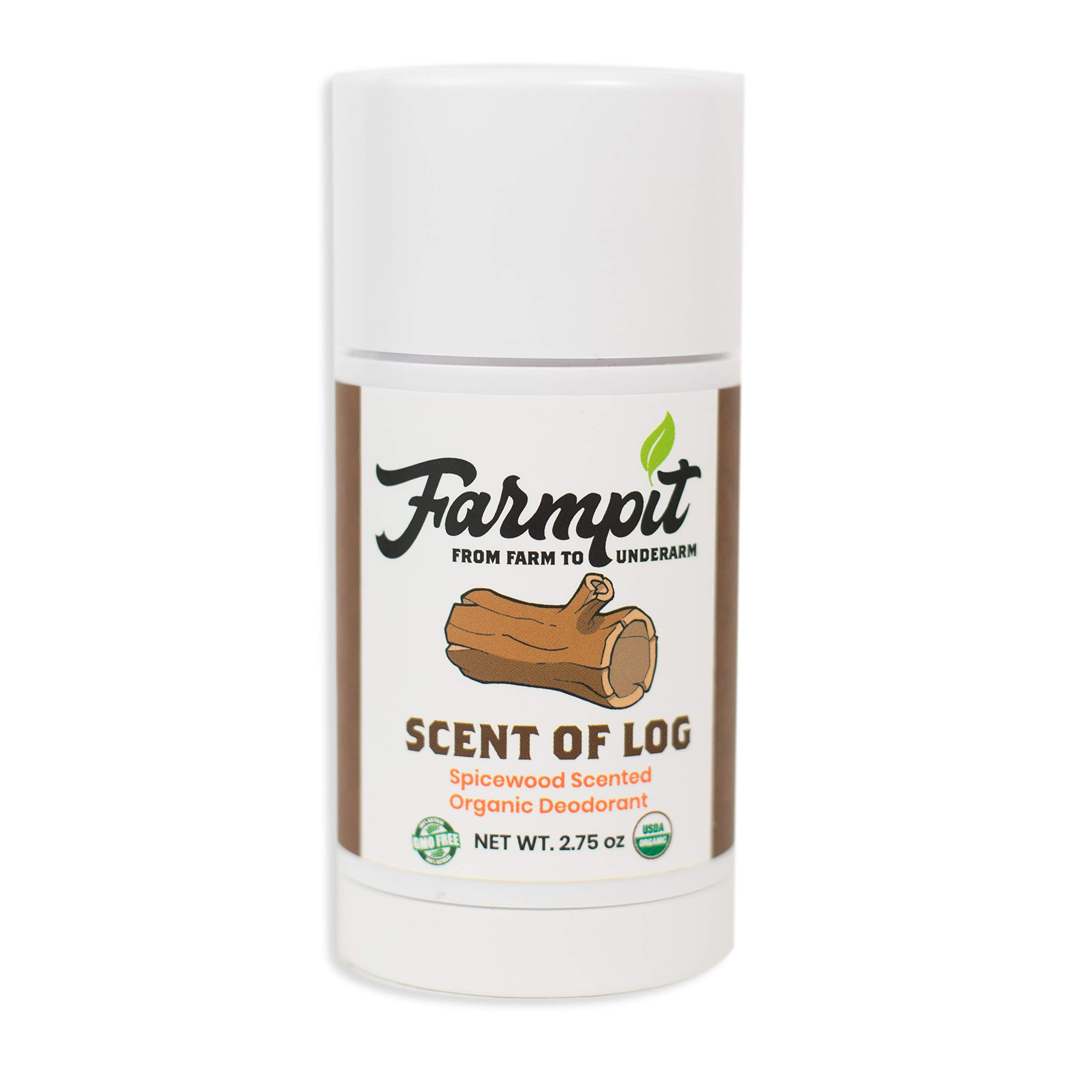 Farmpit All Natural Deodorant - USDA Certified Organic - Aluminum, Paraben, Propylene, Gluten, Cruelty and Baking Soda Free - for Men or Women - Stay Fresh All Day (Scent of Log)