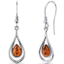Baltic Amber Dangle Earrings Sterling Silver Cognac Color Tear Drop Shape