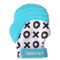 Malarkey Kids Munch Mitt Teething Mitten - The ORIGINAL Mom-Invented Silicone Teether Mitten with Travel Bag – Ideal Teething Toys for Baby Shower Gift  - Aqua XO