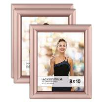 Langdon House 8x10 Picture Frame (3 Pack, Rose Gold), Rose Gold Photo Frame 8 x 10, Wall Mount or Table Top, Celebration Collection