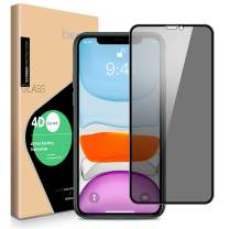 ICHECKEY Privacy Screen Protector Compatible for iPhone 11 Pro Max/iPhone Xs Max, 4D Curved Anti Spy Full Coverage Case Friendly Tempered Glass Screen Protector for iPhone 11 Pro Max/Xs Max - 6.5''