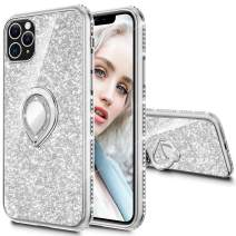 Maxdara Case for iPhone 11 Pro Max Case Glitter Ring Kickstand Case for Girls Women with Bling Sparkle Diamond Rhinestone Stand Holder Case for iPhone 11 Pro Max 6.5 inches (Silver)