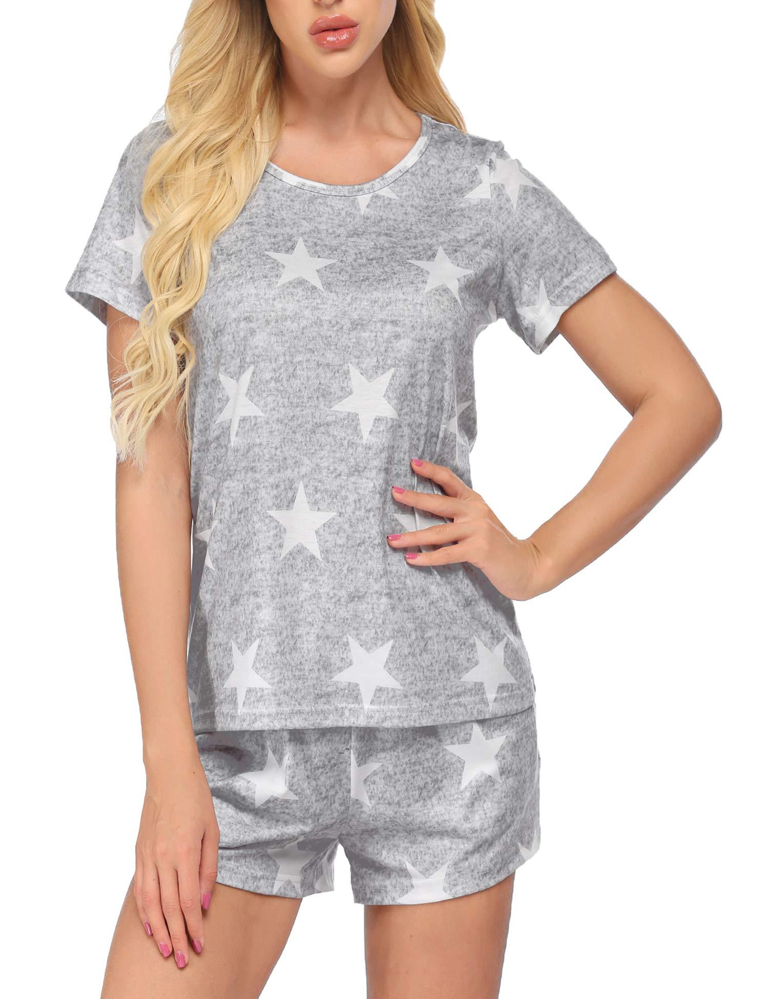 Ekouaer Womens Long Sleeve Pajamas Set Sleepwear Nightwear Star Pattern Bottom Lounge Nightgowns Pjs Sets