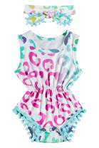 Ahegao 0-24 Months Baby Girls Floral Romper Jumpsuit with Playsuits + Headband Outfits