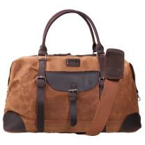 "Canvas Duffel Bag TOPWOLFS 22"" Travel Duffle Bag Tote Large Holdall Luggage Carry On Weekender Bag Waterproof Waxed Canvas"