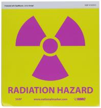"NMC S68P Graphic See Sign, Legend ""RADIATION HAZARD"", 7"" Length x 7"" Height, Pressure Sensitive Vinyl, Pink on Yellow"