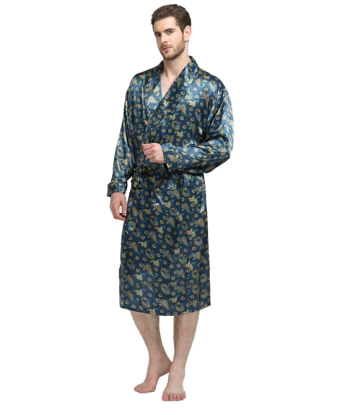 Mens Silk Satin Bathrobe Robe Nightgown_Big and Tall S~3XL