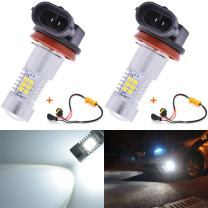 KATUR Super Bright H11 H8 DRL Fog Light Replacement Led Car Driving Daytime Running Lights Xenon White 6000K DC 12V 80W with Canbus Decoder Error Free 50W 8ohm Load Resistors Harness Set 2-Pack
