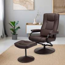 Giantex Recliner Chair w/Ottoman, 360 Degree Swivel PU Leather Chair w/Footrest, Lounge Armchair w/Overstuffed Padded Seat and Leather Wrapped Base, for Home Office Living Room(Brown)