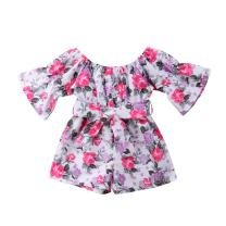 Toddler Baby Girls Off-Shoulder Floral Overall Romper Jumpsuit Shorts Summer Outfits One Piece