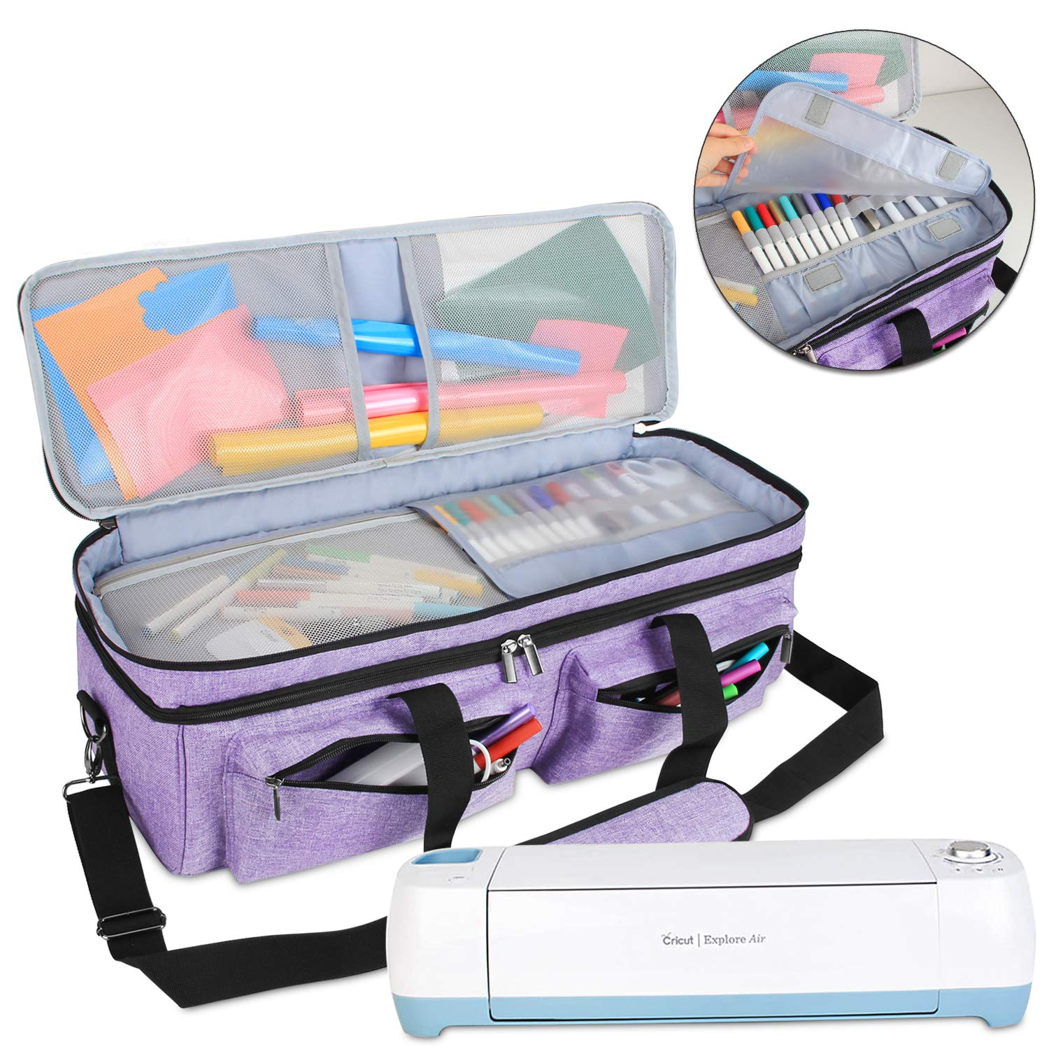 Luxja Double-Layer Bag Compatible with Cricut Explore Air (Air2) and Maker, Carrying Bag Compatible with Cricut Die-Cut Machine and Supplies (Bag Only, Patent Pending), Lavender