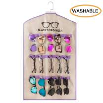 TRIUMPH VISION Hanging Glasses Organizer Wall Mounted - 15 Slots Cloth Eyeglasses Display Mounted Sunglasses Organizer