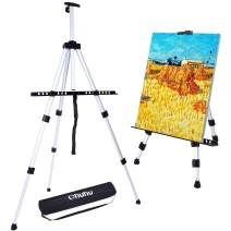 """Artist Easel, Ohuhu 66"""" Aluminum Field Easel Stand with Bag for Table-Top/Floor, Art Easels with Adjustable Height from 21-Inch to 66-Inch Back to School Art Supplies Great Gift for Student Children"""