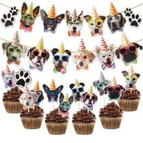 Dog Party Decorations,Yamissi Includes 1PC Dog Faces Banner and 24 Pieces Dog Cupcake Toppers for Dog Theme Birthday Party