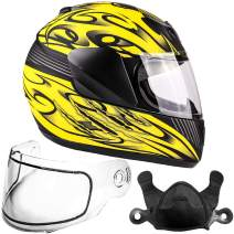 Typhoon Helmets Youth Kids Full Face Snowmobile Helmet DOT Dual Lens Snow Boys Girls - Matte Yellow (Medium)