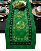 St. Patrick's Day Table Runner-Cotton linen-Small 36 inch, Retro Lucky Clover Irish Green Plaid Tablerunner for Kitchen Coffee/Dining/End Table Bedroom Home Living Room,Scarfs Decor for Holiday Dinner