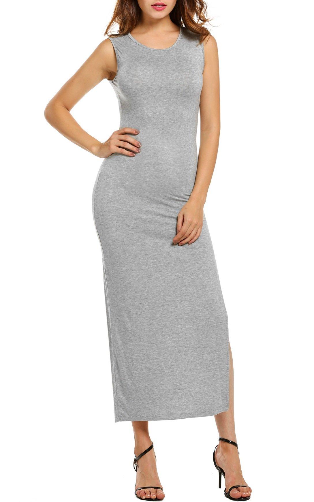 Zeagoo Women's Sleeveless High Slit Bodycon Summer Beach Vacation Long Maxi Dress