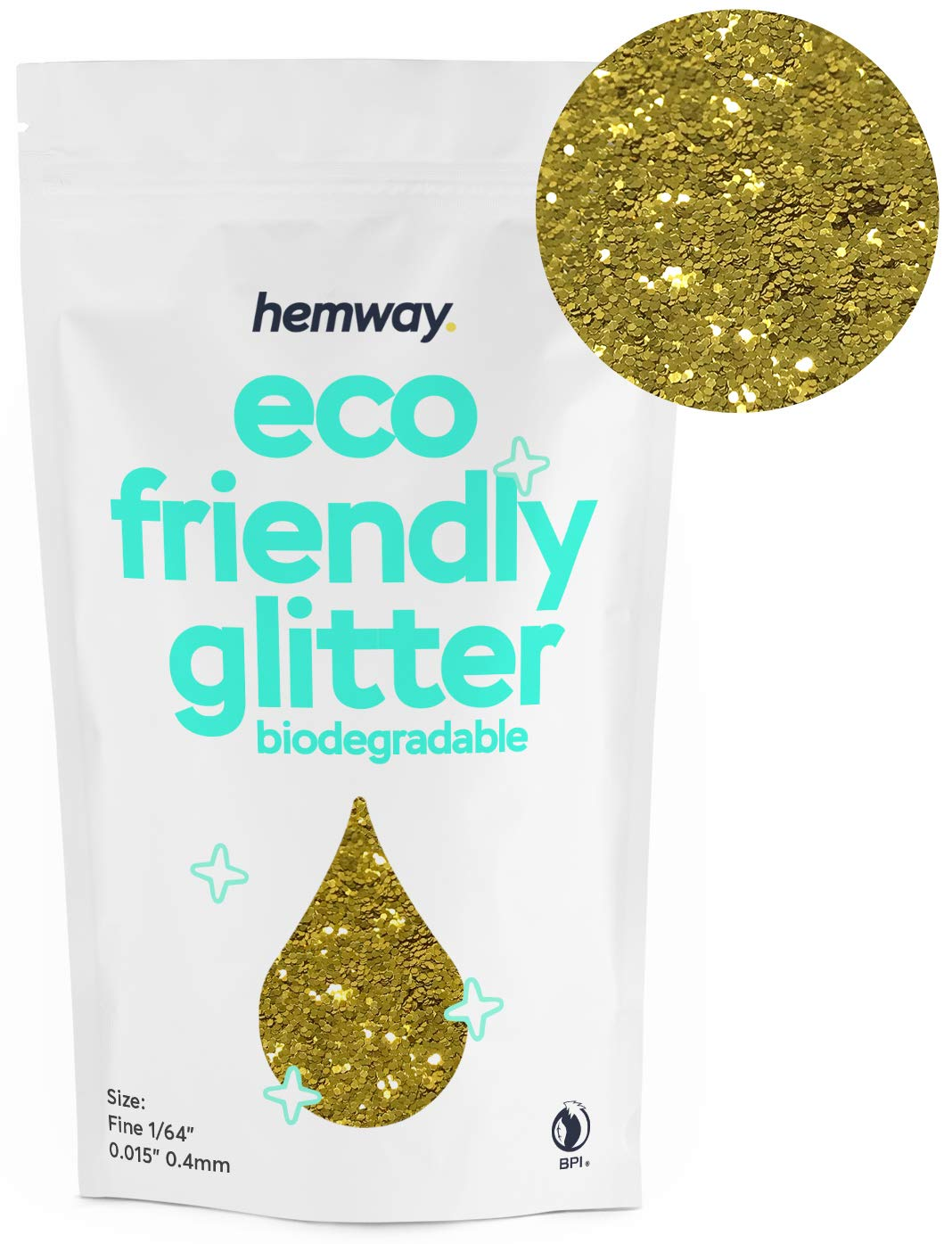 """Hemway Eco Friendly Biodegradable Glitter 100g / 3.5oz Bio Cosmetic Safe Sparkle Vegan for Face, Eyeshadow, Body, Hair, Nail and Festival Makeup, Craft - 1/64"""" 0.015"""" 0.4mm - Gold"""