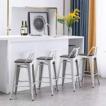 """Yongchuang Metal Counter Height Bar Stools Set of 4 Modern White Barstools with Wooden Low Back 26"""""""